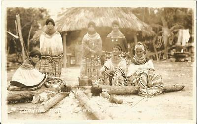 Rppc Florida Tamiami Trail Chestnut Billy's Indian Camp Cooking Dinner