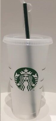 STARBUCKS Reusable Venti Frosted Plastic Cold Cup & Reusable Green Straw New