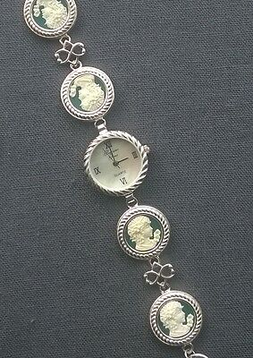 """Sterling Silver Jade Cameo Watch 7.5"""" Fine Quality Solid 925"""