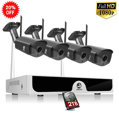JOOAN 1080P Wireless 4CH NVR Outdoor Home Security Camera CCTV System Kit 2T HDD