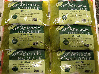 (6 SPINACH ANGEL HAIR) Miracle Noodle Shirataki Pasta, Zero Carb, Gluten Free