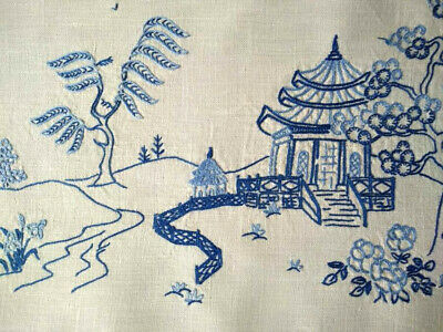 "Willow /Oriental Large Centrepiece/mat ~ Vintage hand embroidered 14"" x 19.75"""