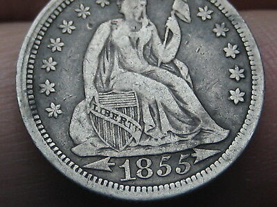 1855 P Seated Liberty Silver Dime- With Arrows, VF/XF Details