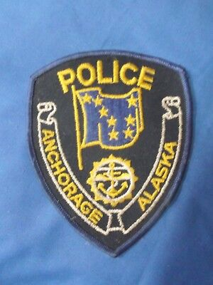 """5"""" ANCHORAGE, ALASKA AK POLICE (CHEESECLOTH) SHERIFF PATCH 1980's"""