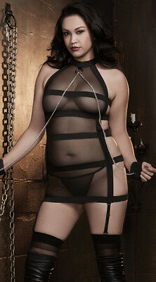 Banded Mesh Dress Sheer Halter Chains Fetish Lingerie Bondage PVC Plus Size