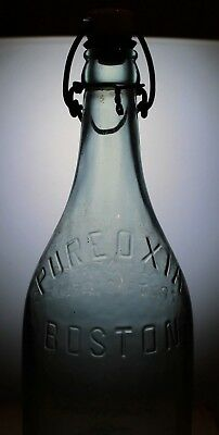 Liquor Bottle Vintage PUREOXIA Boston MA Rare Antique Beer Soda collectible