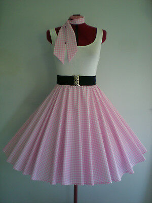 "GIRLS/LADIES ROCK N ROLL/ROCKABILLY ""Check"" SKIRT-SCARF XS-S Pink/White."