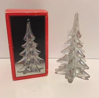 "Lovely Toscany Art Glass Lustre 7 3/4"" Evergreen Christmas Tree Sculpture In Box"