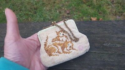 Small Antique Micro Glass Seed Beads Kitten Doll or Childs Pocketbook Purse