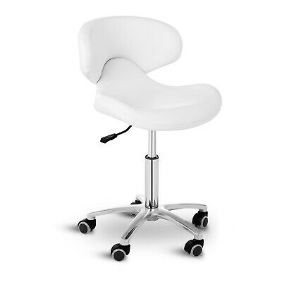 Stool Chair With Backrest 360° Swivel Rolling Chair Healthy Posture 150kg White
