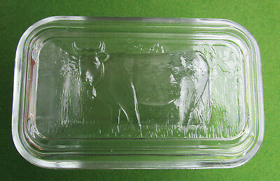 Pressed Glass Lidded Butter Dish with Cow
