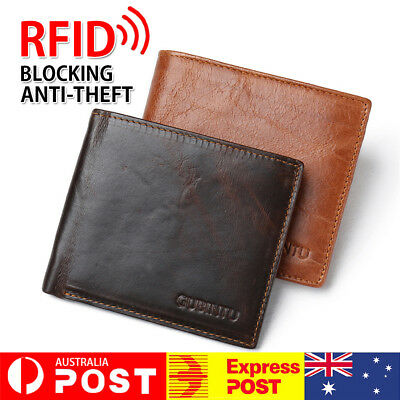Genuine Leather Mens Purse Bifold Credit Card Wallet RFID Blocking Anti Scan AU