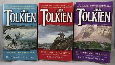 Lord of the Rings Trilogy Paperback 3 Book Lot - JRR Tolkien LOTR