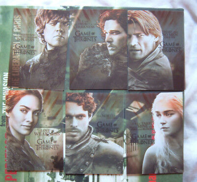 Game of Thrones Season 2  Plastic Gallery Character Set of 6 Chase Cards PL1-6