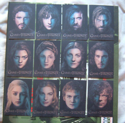 Game of Thrones Season 3 Character Gallery 12 Card chase Set PC1 - PC12