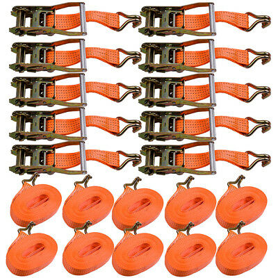 10pcs Heavy Duty Ratchet Strap Tie Down Trailer 10 metre 5 ton 50mm Wide
