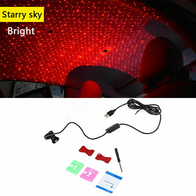 USB Car LED Ambient Atmosphere Light Projector Armrest Box Galaxy Star Lamp Red