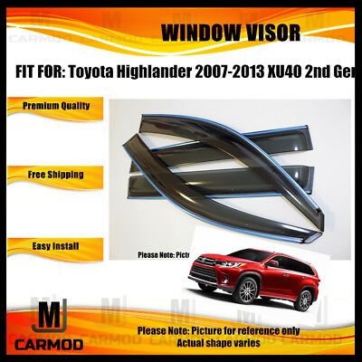 Window Visor WeatherShield Wind Deflector fit Toyota Highlander 2007-2013 XU40