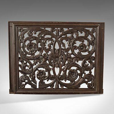 Antique Carved Wall Panel, Large, Victorian Decorative Carved, Oak Screen c.1880