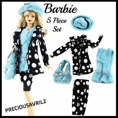 New Barbie doll clothes outfit 5 piece set skirt jacket top hat handbag clothing