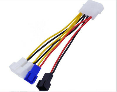 1X 4Pin To 3Pin Molex Power to 12V 7V 5V Case Fan Socket Converter Adapter Cable