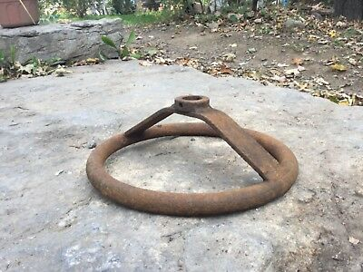 Vintage rusty cast iron Metal steering wheel steam punk 11 inch round repurpose