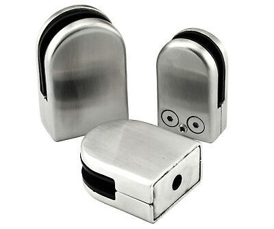 2pairs SHOWER SCREEN WALL FLOOR 304 STAINLESS STEEL GLASS CLAMP CLIP BRACKET