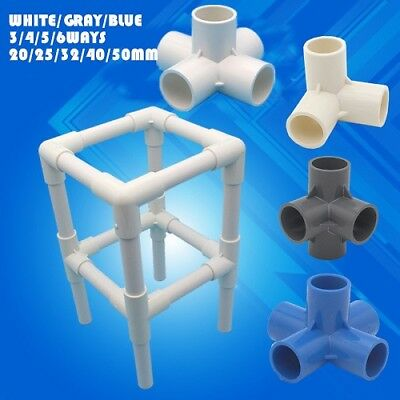PVC Water Pipe Tube Adapter Connectors 3-6 Ways 20-50mm Diameter White/Gray/Bl B