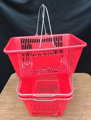 """3 Red Retail Store Shopping Baskets-Durable Plastic with Metal Handles-17""""x13"""""""