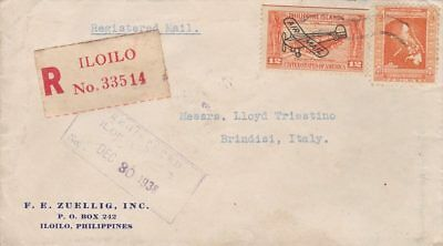 1938 Filippine/philippines, Interesting Registered Cover From Iloilo To Brind...