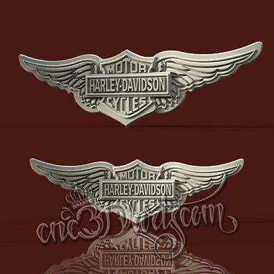 3D Model STL for CNC Router Artcam Aspire Biker Wings HD Panel Cut3D Vcarve