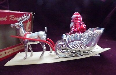 Vintage Christmas Bradford Santa's Sleigh and Reindeer Plastic With Original Box