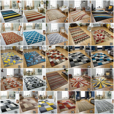 Modern Geometric Floral Small Large Runner Carved Multi Heatset Budget Rugs