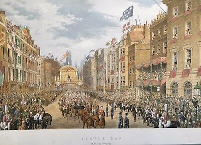 1863 Antique Print; The Temple Bar, London: King Edward VII wedding after Dudley