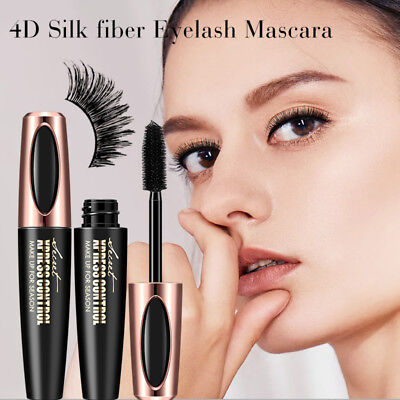 Black 4D Silk Fiber Eyelash Mascara Extension Makeup Waterproof Kits Eye Lashes