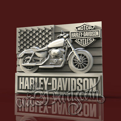 3D Model STL CNC Router Artcam Aspire Biker Motorcycles HD Panel Cut3D Vcarve