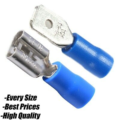 BLUE Male Tab / Female Spade Insulated Copper Electrical Wire Cable Crimp Mix