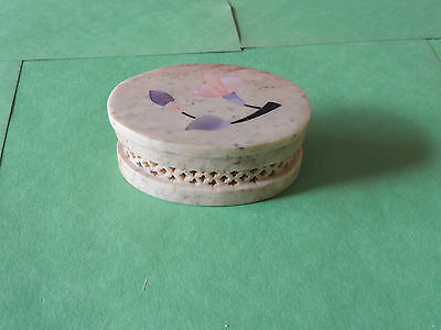 Soapstone~Trinket Box~Hand-Made India~Pink ,blue ,flower Inlay~Mother Of Pearl .