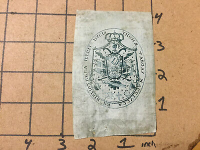 vintage paper -- v early BOOKPLATE -- watermarked paper