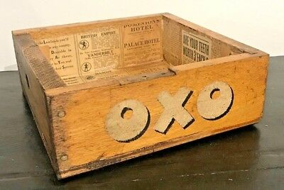 OXO Vintage Style Wooden Box lined with 1939 Times newspaper 7.5 x 21 x 21cm (B)