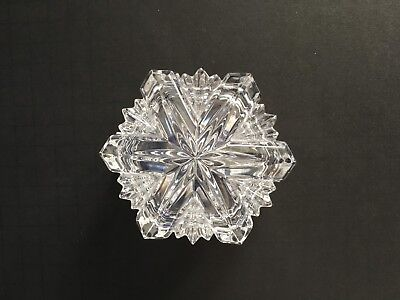 Clear Cut Glass, Snowflake Shaped, Trinket Box, Weighs 12.2 oz.