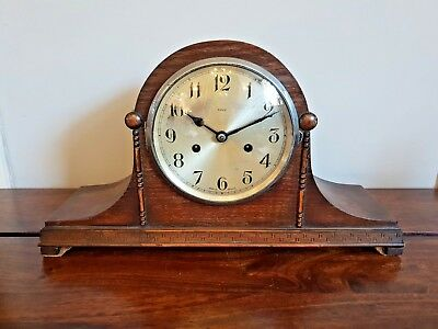 Antique Enfield 14 Day Striking Oak Mantle Clock (Pendulum Key Instructions)