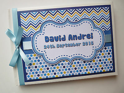 Personalised Chevron Boys/first/1St Birthday/christening Guest Book Any Design