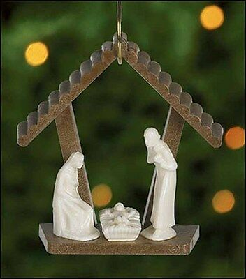 Stable Nativity of Christ Ornament w Holy Family Christmas Tree Decoration RC211