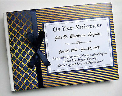 Personalised Blue & Gold Retirement/wedding/gift Guest Book - Any Colour