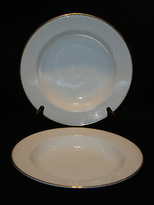 Dansk Tapestries RIMMED CEREAL / SOUP BOWLS Lot x 2 White W/ Gold Rim Exc. Cond.