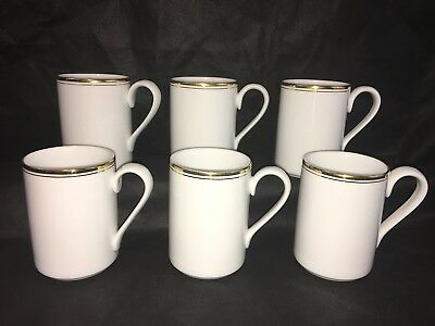 Dansk CONCERTO GOLD Tea COFFEE MUGS Lot Set x 6 White W/ Double Gold Band EUC