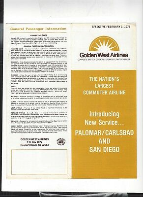 Golden West  Airlines  February 1   1978  timetable