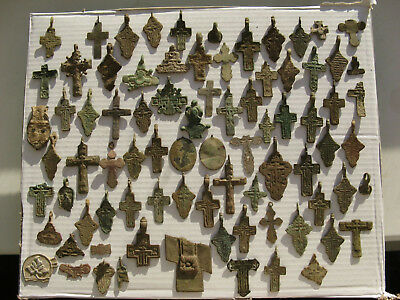 Metal detector finds.Mix lot  ancient crosses (The age of 14-19) N34