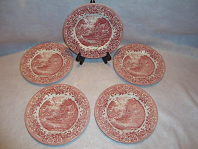 "Lot Of 5 Staffordshire Engravings ""17th Century"" 8 in. Salad Dessert  Plates EUC"